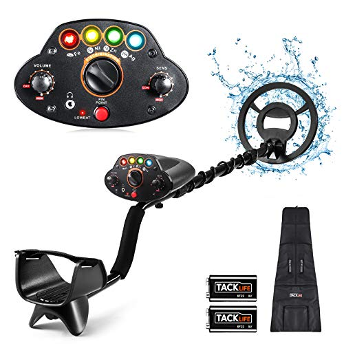 """Metal Detector,Adjustable High Accuracy Beach Waterproof Metal Finder (41""""-53"""") with DISC Mode, Pinpoint Function,4 Colors LED Light, for Adults and Kids,Fast Detection- MMD05 Upgraded"""