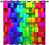 FGYSFT Cortinas Salón Opacas - Color Del Arco Iris Abstracto Bloques De Construcción Geométricos 140X215 Cm X 2 - Impresión 3D Aislantes De Frío Y Calor 90% Opacas Cortinas - Salon Cocina Habitacion N