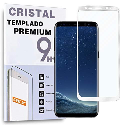 REY Protector de Pantalla Curvo para Samsung Galaxy S8, Plata, Cristal Vidrio Templado Premium, 3D / 4D / 5D