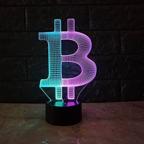 HWHZ Luz de Noche Visual de Bitcoin 3D, Toque Colorido, Carga LED, luz Tridimensional, Regalo, atmósfera, luz