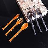 ABRC Fiesta de Halloween 3pcs / Set de plástico Cubiertos Conjunto Esqueleto de la Mano Forma de Hueso Tenedor y Cuchara # 8157310