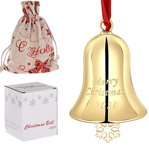 1 cascabeles de Navidad con cinta roja para colgar en el árbol de Navidad para puerta, interior y decoración de recuerdo de Navidad 2020 (campanas de Navidad, doradas)