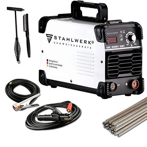 STAHLWERK ARC 200 ST IGBT - Schweißgerät DC MMA/E-Hand Welder mit echten 200 Ampere sehr kompakt, weiß, 7 Jahre Herstellergarantie