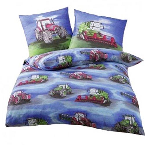 Bettwäsche Traktor 135x200 cm - Biber Kinderbettwäsche Blau