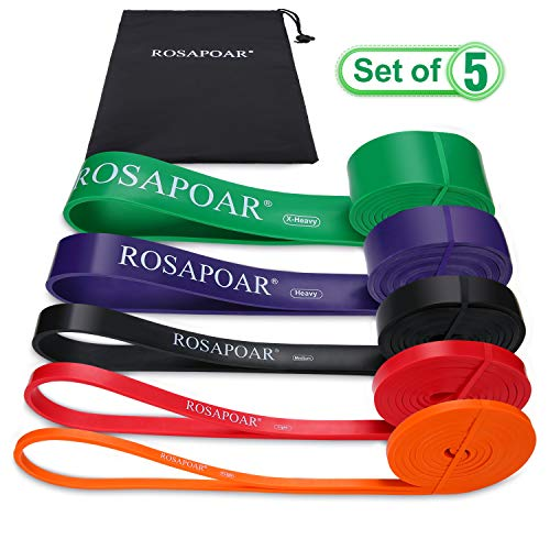 Price comparison product image ROSAPOAR Pull Up Resistance Bands Assist Exercise Workout Band Set for Fitness Strength Weightlifting and Powerlifting- Stretch Mobility Assistance Bands at Home Gym / Crossfit Training
