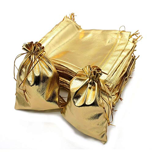 Wuligirl 100pcs Drawstring Pouches Bags 5 x 7 Inch Jewelry Watches Earrings Bracelets Lipstick Baby Shower Party Wedding Favor Cookies Candy Christmas Gift Bags(Gold 5x7'')