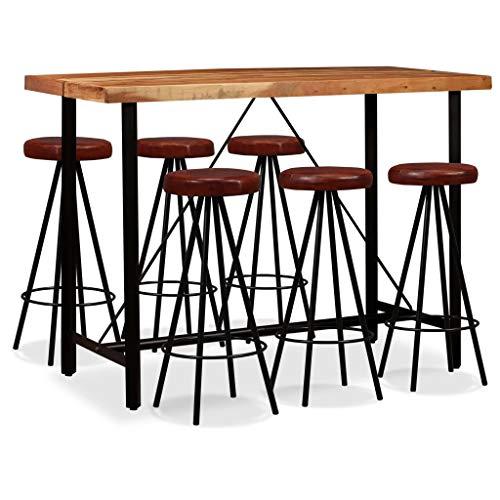 Festnight Bartisch Set mit 6 Barhocker | Sitzgruppe im Industrie-Look | Sheesham-Holz + Stahl + Echtleder | Balkonset Essgruppe für Küche Esszimmer Bar