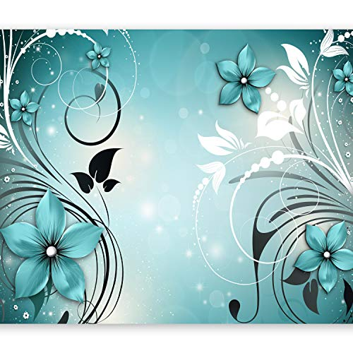 murando Fototapete Blumen 400x280 cm Vlies Tapeten Wandtapete XXL Moderne Wanddeko Design Wand Dekoration Wohnzimmer Schlafzimmer Büro Flur Ornament blau b-A-0044-a-c