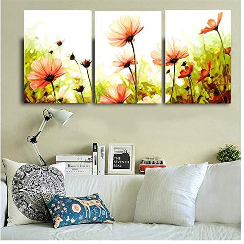Canvas Wall Art Olieverfschilderij door cijfers Bloem Triptiek Afbeeldingen Dier Kleurplaten Landschap Abstract Verf Muursticker Home Decor Gift Unframed 3 Stuk Set 50 * 70Cm
