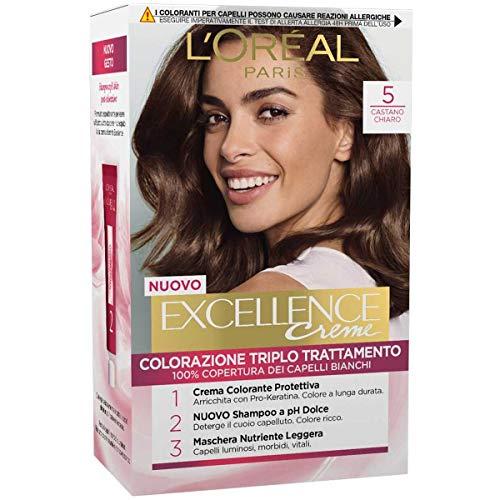 L'Oréal Paris Excellence Crema Colorante Triplo Trattamento Avanzato, 5 Castano Chiaro