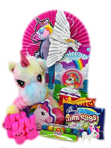 Jumbo Egg Unicorn Easter Basket for Girls - Stuffed with Toys and Candy for Ages 6 to 12 - Peeps, Russell Stover Egg Cadbury Eggs, Unicorn Poo Glitter Putty- 12 Piece Filled Bucket Bundle (Rainbow)