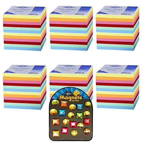 WEDO Zettelbox Nachfüller 9x9 cm, 700 Blatt (6 Block Farbig) + 1 Lustiger Kühlschrankmagnet