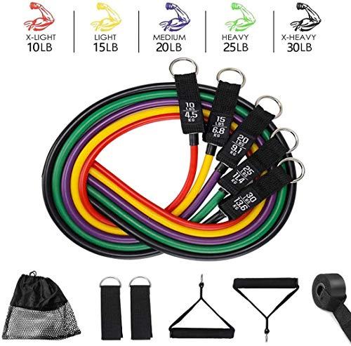 DOVAVA Fitnessband Set (11-Teiliges) 5 Übungsbänder Widerstandsband Yoga Resistance Gymnastikbänder, Griffen, Türanker, Knöchelriemen und Tragetasche