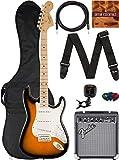 Fender Squier Affinity Stratocaster - 2-Color Sunburst Bundle with Frontman 10G Amplifier, Gig Bag, Instrument Cable, Tuner, Strap, Picks, and Austin Bazaar Instructional DVD