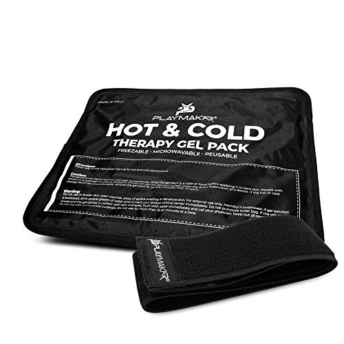 Affordable Gel Ice Pack– Reusable Cold & Hot Therapy Pack with Wrap for Pain, Arthritis, and Injuries of Knee, Shoulder, Foot, Back, Ankle, Neck, Hip, Wrist by PlayMakar® (Medium/Half Size, 7.5″ x 11″)