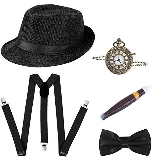 Accesorios de los años 20 para hombre,5 pcs gran disfraz de Gatsby 1920 Vintage Fancy Dress para hombre con sombrero Panamá,tirantes elásticos en Y,corbata,reloj de bolsillo,cigarro