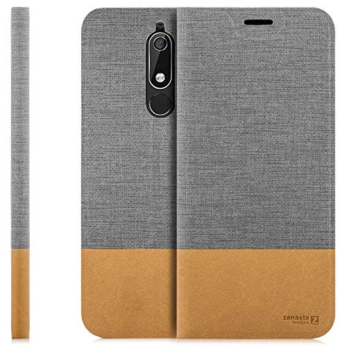 Zanasta Custodia Compatibile con Nokia 5.1 Cover Flip Wallet Designs Case Copertura con Portafoglio - Pieghevole con Porta Carte, | Grigio