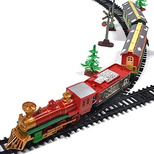 unhg Tren Navideño Tren Eléctrico Pista Juguete Juego de Tren de Navidad...