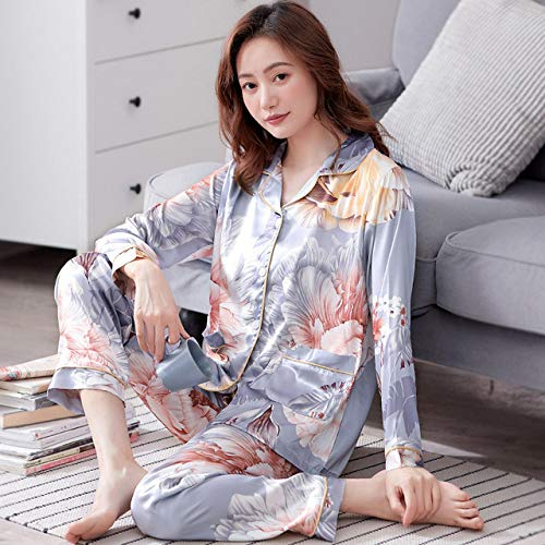 YPDM Summer pajamas,Novelty Print Flower Women Pajamas Set Nightwear Casual Loose Satin Pijamas Suit 2PCS Sleepwear Long Sleeve Satin Shirt&pant 3XL,Style 6,M