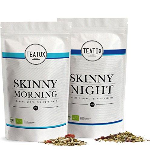 Teatox SKINNY Morning & SKINNY Night | Bio Grüner Tee & Bio Kräutertee | 14-Tage Tee-Programm | Morgens: Sencha & Mate, Abends: Rooibostee & Melisse | Perfekt durch den Tag | lose Teeblätter (in Ziplocks)