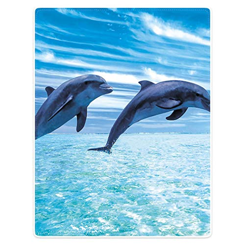 YISUMEI Decke 150x200cm Flauschige Kuscheldecke Weich Flanell Fleecedecke Springender Delphin