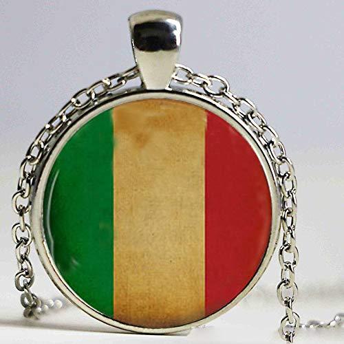 Halskette mit Anhänger, italienische Flagge, italienische Flagge, Steampunk-Kette, Herren