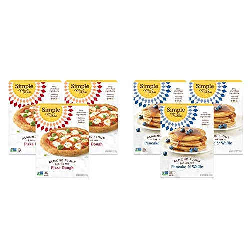 Simple Mills Almond Flour, Cauliflower Pizza Dough Mix, Gluten Free, Made with whole foods, 3 Count & Almond Flour Pancake Mix & Waffle Mix, Gluten Free, Made with whole foods, 3 Count