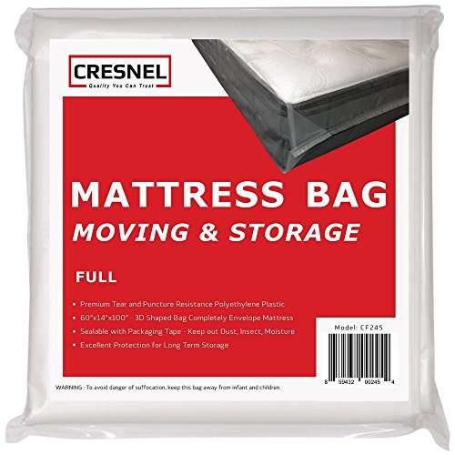 CRESNEL Mattress Bag for Moving & Long-Term Storage - Full Size - Enhanced Mattress Protection with 5 mil Super Thick Tear & Puncture Resistance Polyethylene
