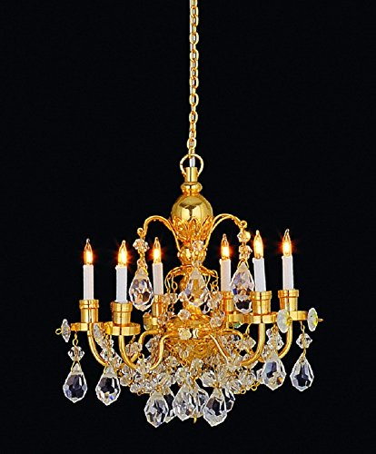 Melody Jane Dollhouse 6 Arm Real Crystal Chandelier Gold Finish Miniature Electric Light