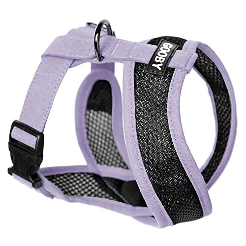 """Gooby - Active X Head-in Harness, Choke Free Small Dog Harness with Synthetic Lambskin Soft Strap, Purple, Large, Large Chest (14-20"""")"""