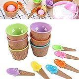 Hourongw Juego de 6 cuencos de postre y cucharas a juego – Plástico – Lindo color caramelo – Diseño de oblea, DIY bebidas de verano