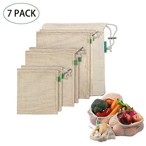 Yxaomite Obst und Gemüsebeutel Baumwolle, Einkaufstasche Wiederverwendbare Einkaufsbeutel aus Bio Baumwolle Waschbar Einkaufsnetz Zero Waste (7er Set,2xKlein, 2X Mittel, 2X Groß,1Aufbewahrungstasche)