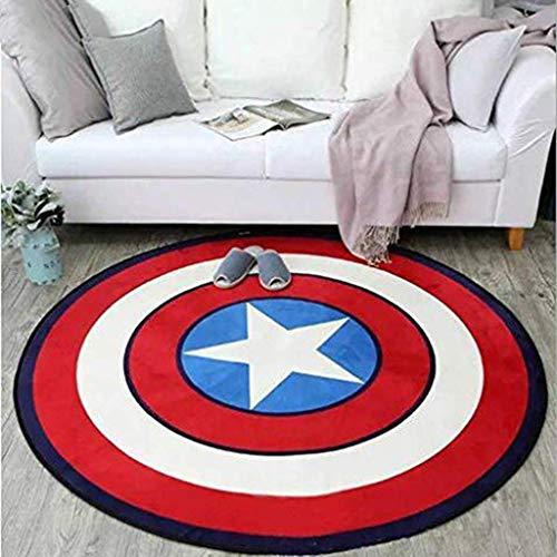 Teppiche Salon Pentagramm Schlafgemach Runde Matte Boden Teppich Kind Krabbeln Pad Multifunktions-Mode Captain America Grey Shield, Qi Xian, rot, D100CM