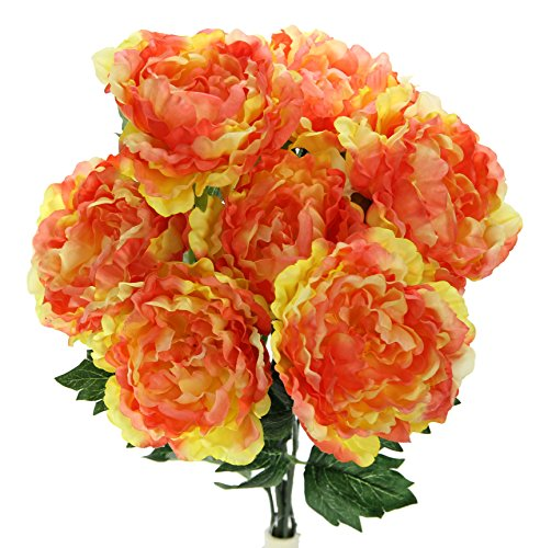 Admired By Nature 7 Stems Faux Full Blooming Peony Flower Bush, Sherbet