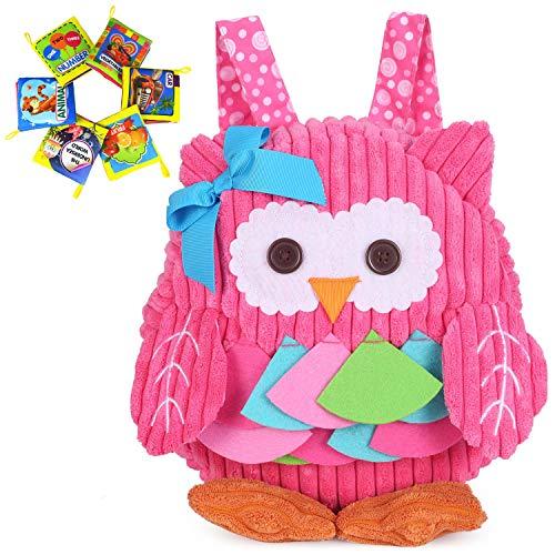 Rejolly Toddler Mini Backpack for Baby Girls Boys Cute 3D Animal Cartoon Children Owl Backpack Preschool Plush Purse for Kids Pink