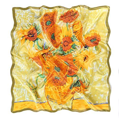 prettystern 90cm groß Seiden-Tuch Kunst-Druck van Gogh vierzehn sonnenblumen in einer vase P723