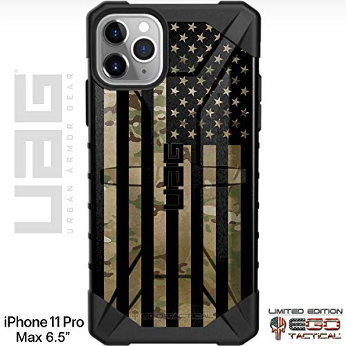 """UAG Apple iPhone 11 Pro MAX [6.5"""" Screen] Limited Edition Case Urban Armor Gear by EGO Tactical - Subdued US Flag Over Multicam/Scorpion Camouflage"""