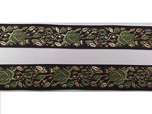 2 m Borte Rosenranken Blumen Trachten Landhaus Dirndl Wiesn 35 mm breit Farbe: schwarz-grün-lurexgold