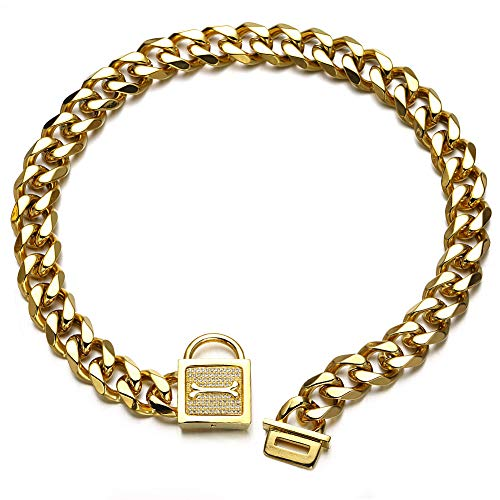 Aiyidi Strong Dog Chain Collar, 316L Stainless Steel Slip Choker Collar, with Personality Rhinestone Lock, 19MM Gold Cuban Link Chain,12-26inch, Water-Proof, Chew-Proof, for Medium & Large Dogs(22'')