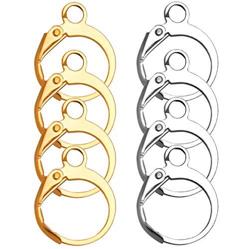 EXCEART 20 Pezzi Orecchini in Acciaio Inox Orecchini a Cerchio Orecchini Fascini Orecchini Ornamenti per Orecchini Fai da Te Creazione di Gioielli (Oro Argento)