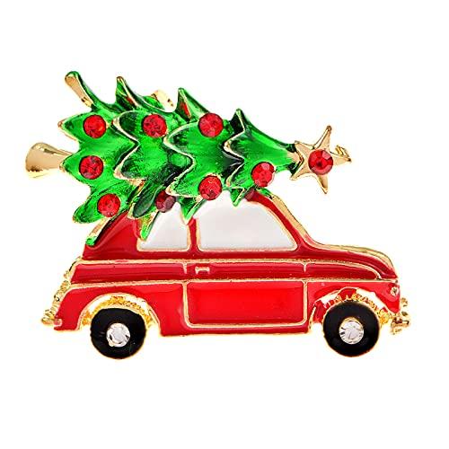 SHUJIA Arboles de Navidad Creativo Broches para Hombres Lindo Esmalte de Coche Forma de Coche Broche Pins Jewelry GIFS de Navidad para Amigos