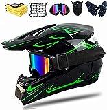 Casco de motocross para adultos y niños, completo, para bicicleta de montaña, para descenso, casco de motocross, casco integral para moto, ATV, norma de seguridad DOT (verde, M)