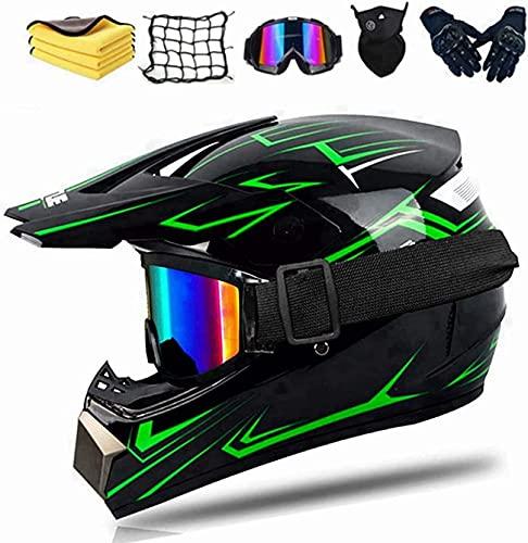 Casco de motocross para adultos y niños, completo, para bicicleta de montaña, para descenso, casco de motocross, casco integral para moto, ATV, norma de seguridad DOT (verde, S)