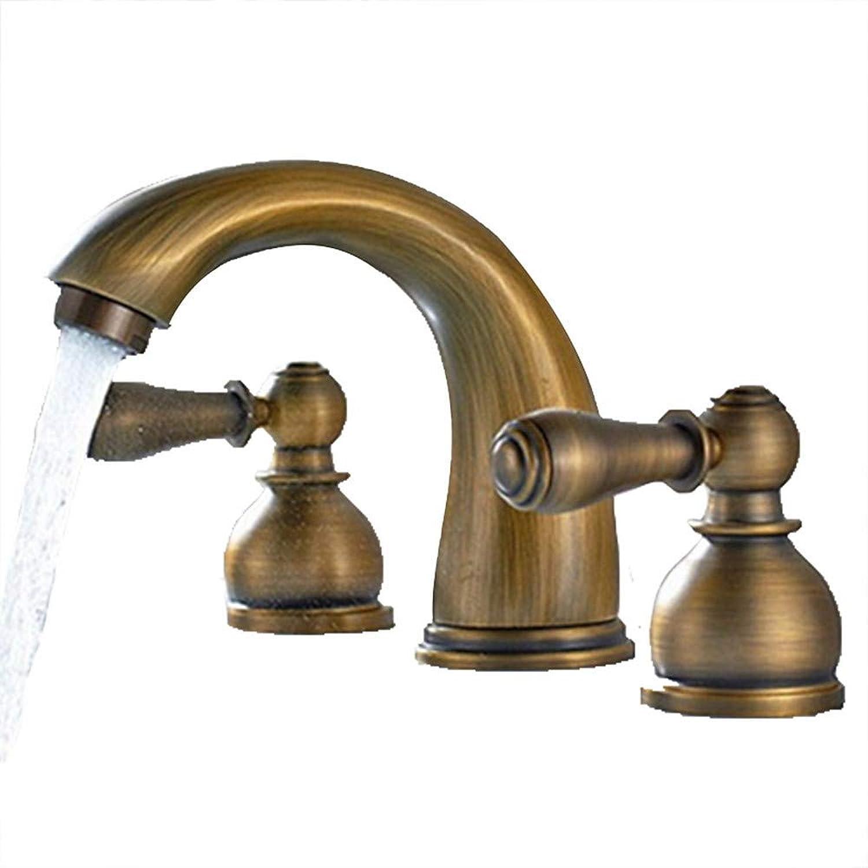 Tintin Antique Widespread Widespread Ceramic Valve Two Handles Three Holes Antique Brass, Bathroom Sink Faucet