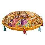 Juego de fundas de cojín estilo bohemio para silla de salón de estilo indio con diseño de mandala, estilo bohemio, de algodón tradicional, redondo, de 40,6 cm