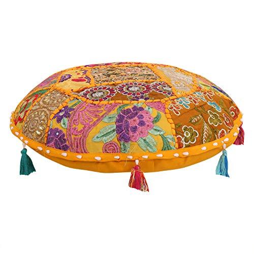 Housse de Coussin Ottoman Pouf Repose-Pied Rond Style Indien Bohémien Mandala 40,6 cm