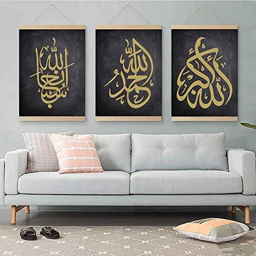LUCKYYY 3 Stück 3D Diamantmalerei Kreuzstich Islamisch Muslim Arabisch Islam Gott Allah Koran Komplettset Diamantstickerei Strasssteine