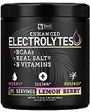 Electrolyte Powder Recovery Drink (90 Servings | Lemon Berry) w Real Salt +BCAAs +B-Vitamins Sugar...