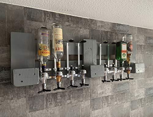 Wandregal Flaschenbar hellgrau mit Alkoholspender für Party Geschenk 4cl für 8 Flaschen aus Europaletten Deutschland Österreich