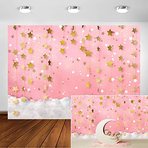 COMOPHOTO Newborn Backdrops for Photography for Girl Pink Twinkle Twinkle Little Star Photo Background 7x5ft Seamless Polyester Photographic Studio Backdrop